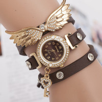 Fashion Ladyis Bracelet Watch Crystal Wings Leather  Quartz Watch Retro Wrist Watches For Women Luxury Relogio Feminino Relojes