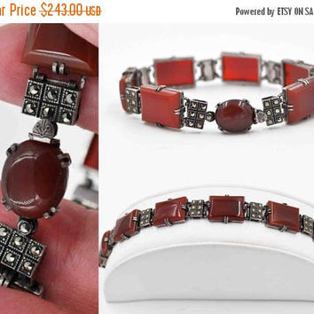 ON SALE Vintage Art Deco Sterling Silver Carnelian Link Bracelet, Marcasite, Red Stone, Chased, Prong-Set, Rectangular, Simply Superb! #b883