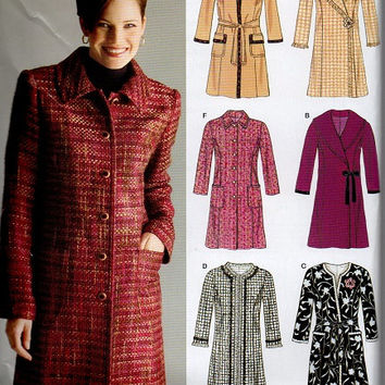 Simplicity New Look Sewing Pattern Stylish Business Casual Dress Coat Button Tie Front Shawl Collar Fall Jacket Uncut Size 8 to 18