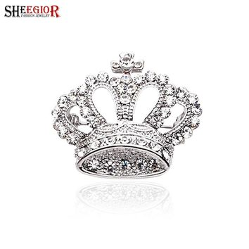 SHEEGIOR Brand Rhinestone Brooch Pins Silver color Love Brooches for Women&Girl Crown Brooches Jewelry Lapel Pin Men Accessories