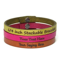 1/4 Inch Stackable Leather Bracelet Engraved with Text of your Choice, Laser Engraved European Leather Custom Bracelet with Post Closure