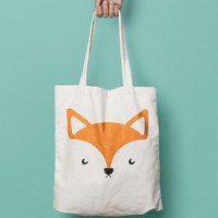 Fox Tote Bag Canvas Printed Animal, Market Bag, Cotton Tote Bag, Large Canvas Tote, Funny Grocery Bag, Designer Tote Bag canvas