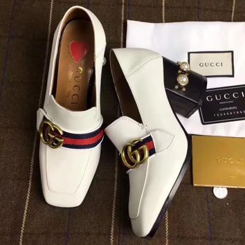 Gucci Women Fashion Simple Casual High Heeled Loafers  Shoes