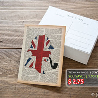 Sherlock Holmes Union Jack silhouette Postcard/Invitation/Note card- 4x6 inches 300gsm (111 lb) heavy paper - design by Natura Picta