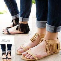 Women's Sandals Fringe Ankle Lace Up Studded Flat Gladiator Sandal Shoe New