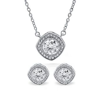 CRISLU Sterling Silver Cubic Zirconia Halo Pendant Necklace and Earrings Set
