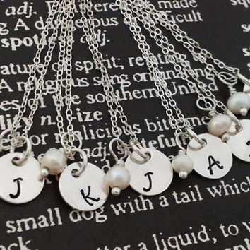 10 Hand Stamped Charm Jewelry Custom Personalized Necklaces Sterling Silver perfect for bridal party