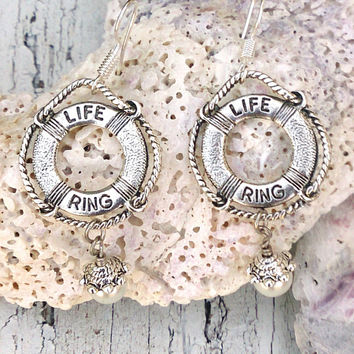Life Preserver Ring Pearl Earrings Beach Ocean Pool Nautical Jewelry Nickel Free