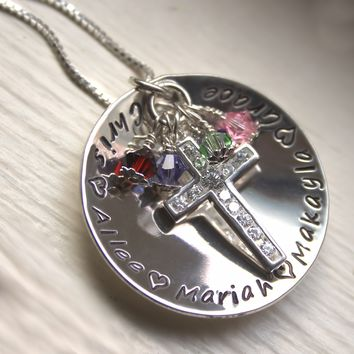 Faith and Family Sterling Silver Cupped Pendant with Birthstones
