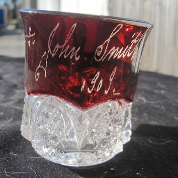 1915 Antique Souvenir Glass Creamer Ruby Cut to Clear with Name