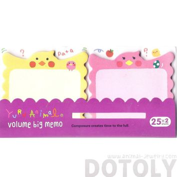 Cute Parakeet Parrot Bird Shaped Animal Sticky Post-it Memo Note Pads in Pink and Yellow