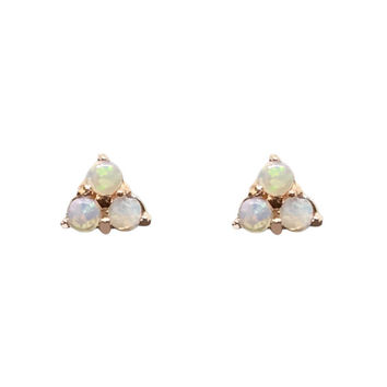 Triple Opal Cabochon Trinity Cluster 14K Solid Gold Stud Earrings (Mini Triangle Trio Triplet Dot) {Single or Pair of Push or Screw Backs}