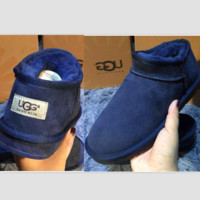 UGG Short boots antiskid warm lazy sheep fur ugg boots pure color Dark blue