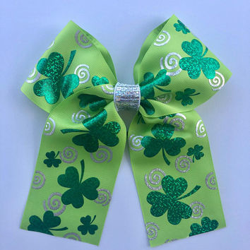 Green St Patricks Day Bow-Softball Cheer Hair Bow-Handmade Hair Accessories-Ribbon Four Leaf Clover Bow-Girl's Hair Clip-Gifts for Her