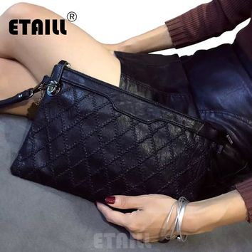 2017 Stylish Diamond Lattice Knitted Black Envelope Clutch Bag Womens Hand Bags Luxury Famous Brand Celebrity Crossbody Bags