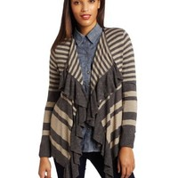 Kensie Women's Soft Slub Knit Striped Cardigan