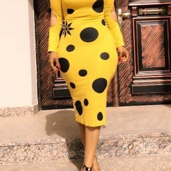 Yellow Polka Dot Cut Out Long Sleeve Clubwear Bodycon Cocktail Party Midi Dresses