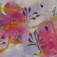 Vibrant original unframed watercolor; Crescent Moon fantasy painting; Pink signed Meanderings art