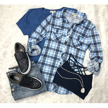 Penny Plaid Flannel Top: Deep Dream Blue