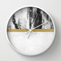 Golden Line / White Wall Clock by Elisabeth Fredriksson