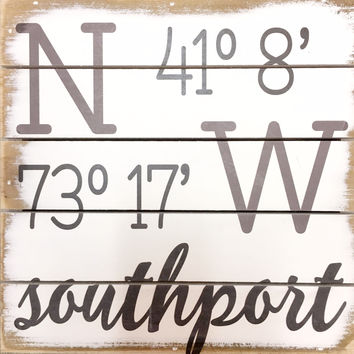 Weathered Coastal Plank Board Sign with Coordinates for Southport, CT