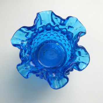 Blue hobnail vase fenton, small vintage ruffled glass, electric blue ruffle double crimped