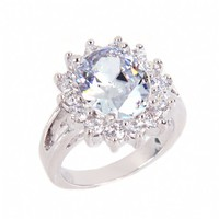 Lady's Grand Oval Cubic Zirconia Engagement Ring