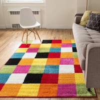 9035 Multi Tiles Colorful Contemporary Area Rugs