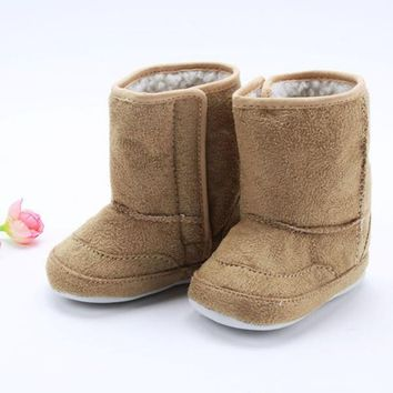Baby Infant Toddler Crib Shoes Boys Girls Fur Winter Snow Boots Shoes 0-18M