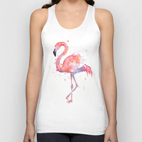 Flamingo Watercolor  Unisex Tank Top by Olechka