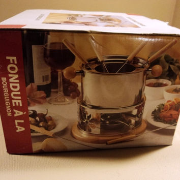 Bourguignon 10 Piece Fondue Set Stainless Steel Wood -- New