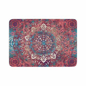 "Nina May ""Magi Mandala Rose Gold"" Coral Teal Abstract Ethnic Mixed Media Painting Memory Foam Bath Mat"