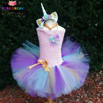 POSH DREAM Girls Fancy Rainbow Princess Pony Unicorn Dress With Headband Christmas Halloween Costume Kids Girl Party Dress