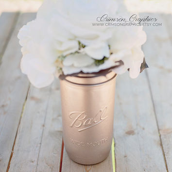 Painted Mason Jar, Wedding, Centerpiece, Vase, Baby Shower, Makeup Brush, Pencil Holder, 24 Ounce Jar, Rose Gold