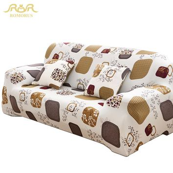 New Tight Wrap All-inclusive Elastic Sofa Covers Slip-resistant Sectional Corner Sofa/Couch Cover for Living Room ROMORUS