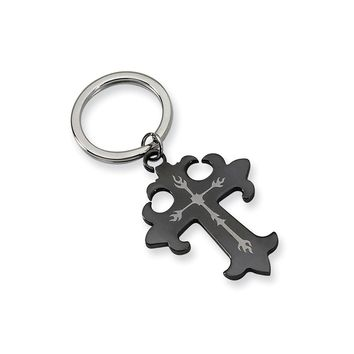 Men's Stainless Steel Polished Black IP-plated Cross Key Chain