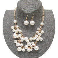 Chunky Pearl Necklace Earring Set