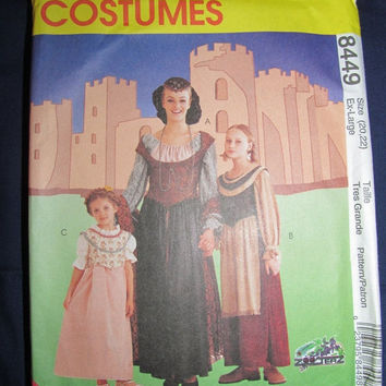 Spring Fever Sale UnCut McCall's Sewing Pattern, 8449! Size 20, 22, Extra Large, Women's, Medieval Costumes, Reenactment Costume, Cosplay