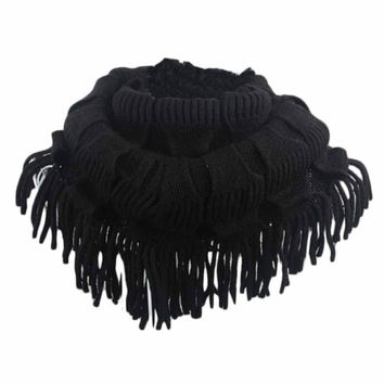 Fashion Women Fashion Infinity Thick Neck Warmer Scarf With Long Fringed Sunshine JFY66