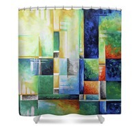 Abstract Colorful Contemporary Art Original Painting A Checkered Life By Megan Duncanson Madart Shower Curtain for Sale by Megan Duncanson