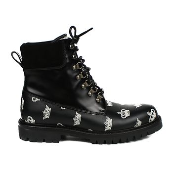 Dolce & Gabbana Men's Black Combat Boots Crown | Pre-owned Used