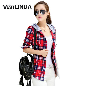 Female Fashion Casual Hoodie Long Sleeve Red Flannel Plaid Blouses Shirt Print Women Blusas Feminina Spring Tops 2017 Outerwear