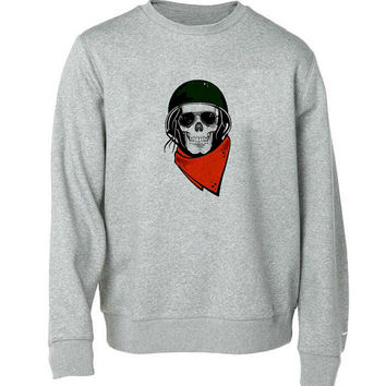 skull army sweater Gray Sweatshirt Crewneck Men or Women for Unisex Size with variant colour