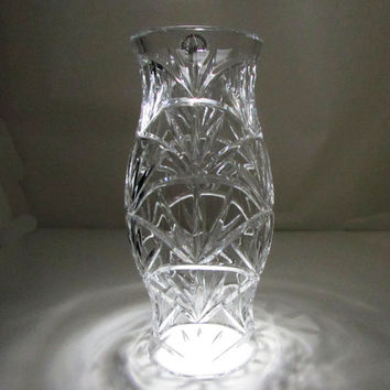 Stiffel Hurricane Lamp 24% Lead Crystal Candle Holder