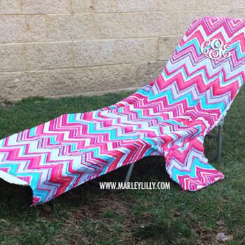 Monogrammed Lounge Chair Cover | Beach Lounger Towel | Marley Lilly