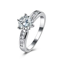 Sweet Wedding Ring Six Claw Zircon Rhinestone Ring for Women Gift