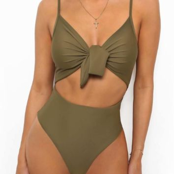 New summer fashion solid color bow-knot  straps one piece bikini swimsuit Army Green