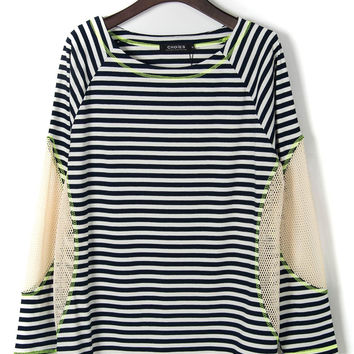Blue And White Stripe Mesh Panel Long Sleeve T-shirt