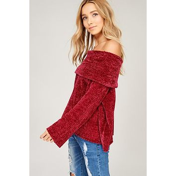 Off Shoulder Velvet Yarn Sweater - Wine
