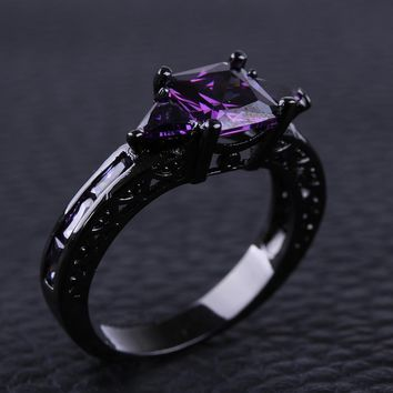 1PC New Fashion Vintage Women Purple Crystal Ring Black Gold Filled Zircon Crystal Rings Size 6-10